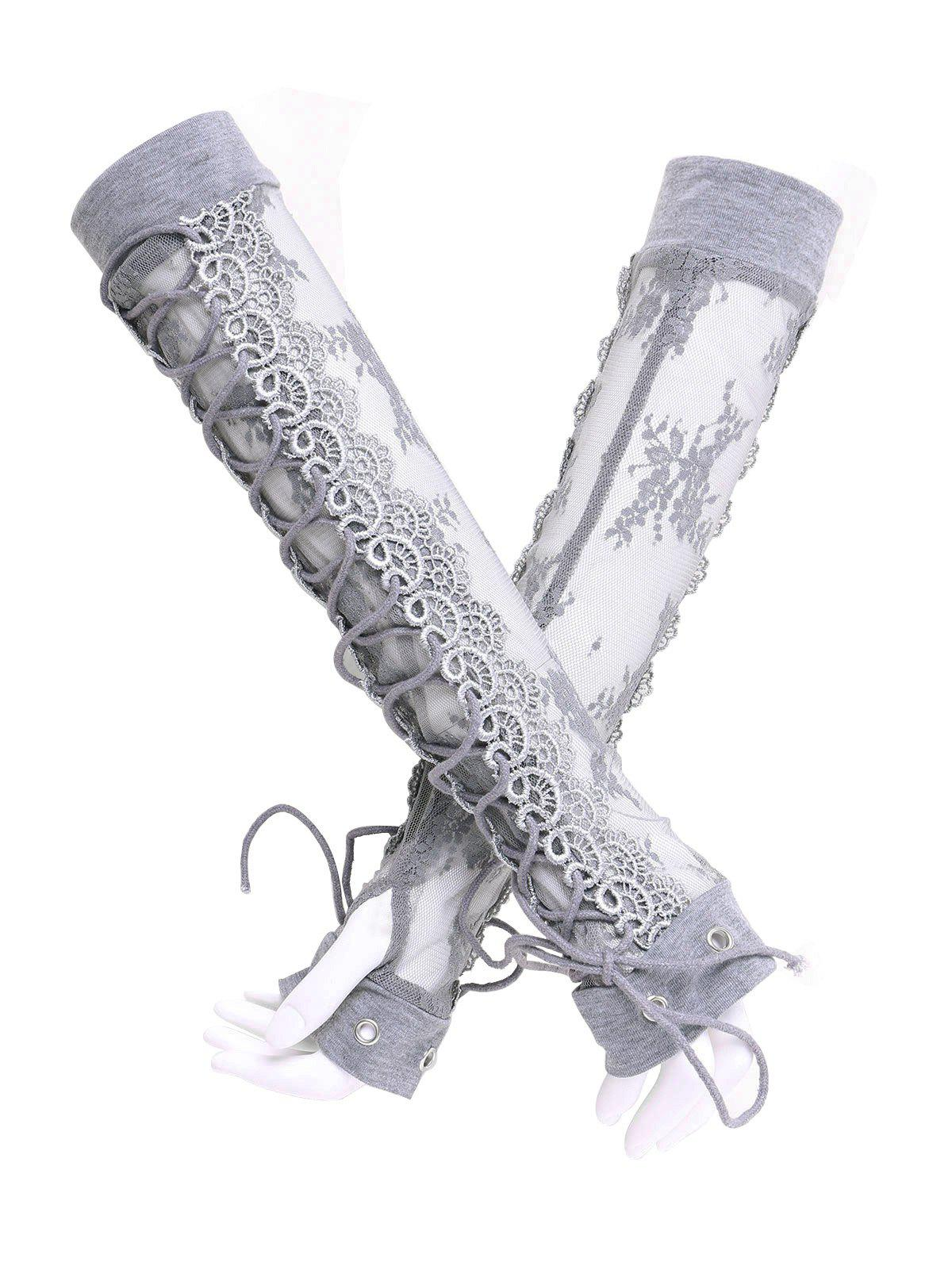 Affordable Criss Cross Fingerless Lace Arm Sleeves
