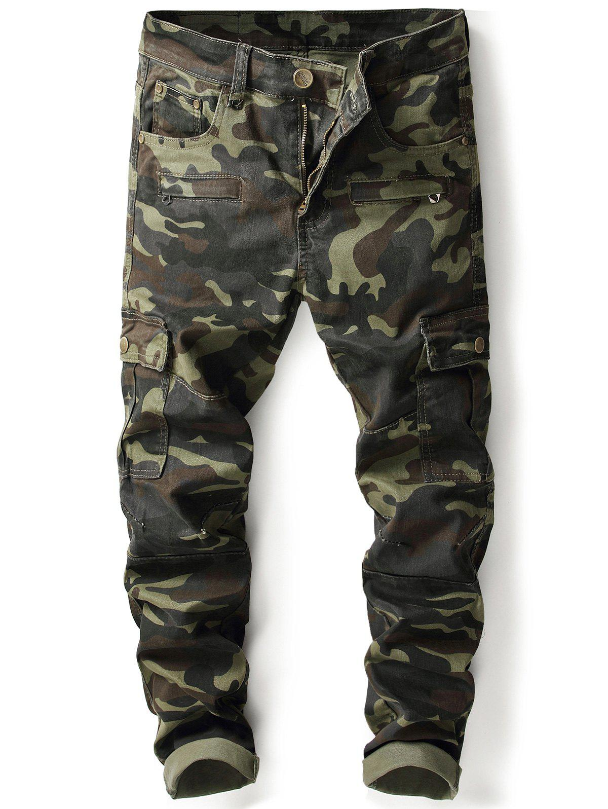 Sale Camouflage Zip Pockets Cargo Pants