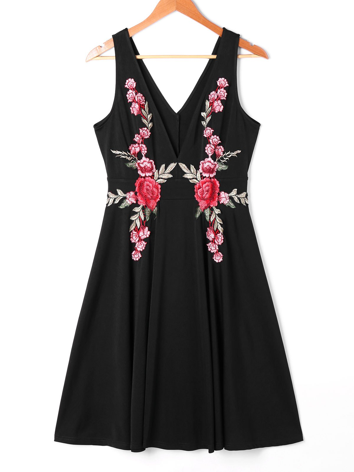 Hot Embroidered Plunging Neckline Swing Dress
