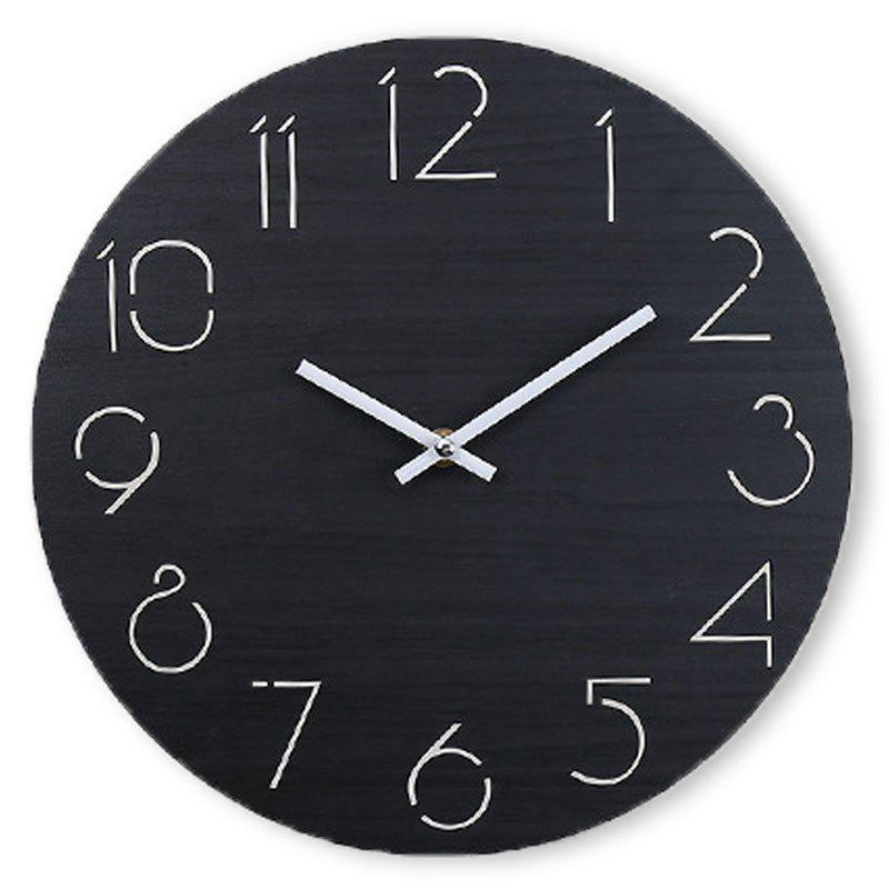 Discount Analog Number Wooden Round Wall Clock