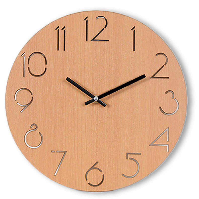 Trendy Analog Number Wooden Round Wall Clock