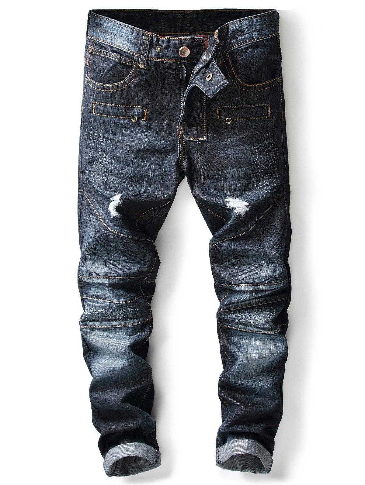 Cheap Panel Design Ripped Jeans