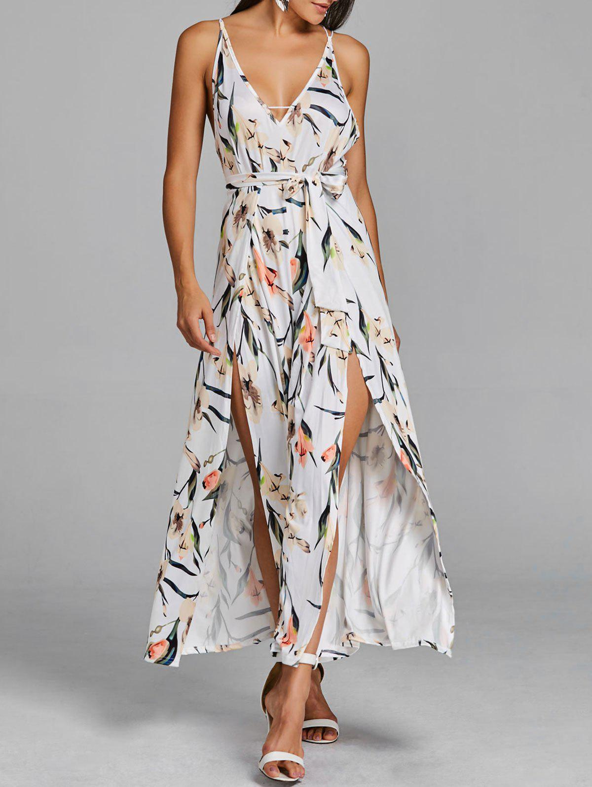 Outfits High Slit Floral Palazzo Slip Jumpsuit