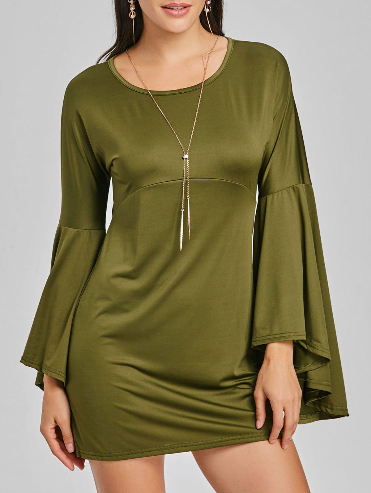 Cheap Mini Bell Sleeve Shift Dress