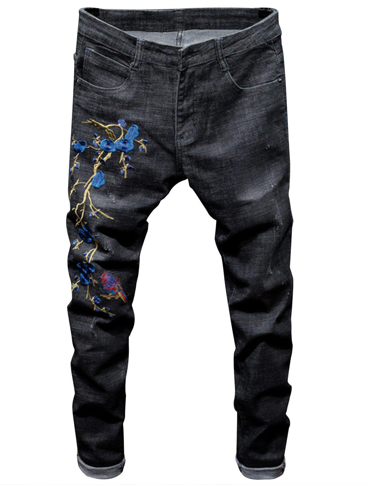 Online Bird and Florals Embroidered Ripped Jeans