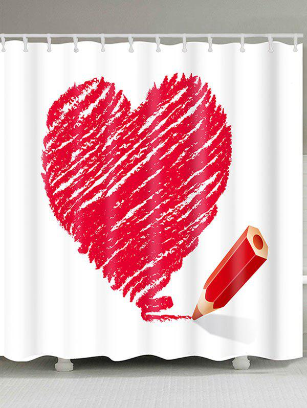 Hot Heart and Pencil Printed Valentine's Day Waterproof Shower Curtain