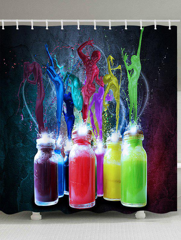 Online Bottle Colorful Paint Splatter Print Waterproof Fabric Bath Curtain
