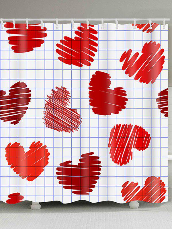 Trendy Waterproof Checks And Heart Printed Valentines Day Shower Curtain