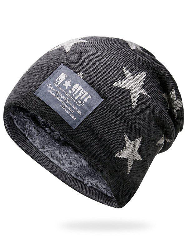 Unique Outdoor Star Pattern Decorated Thicken Knitted Beanie