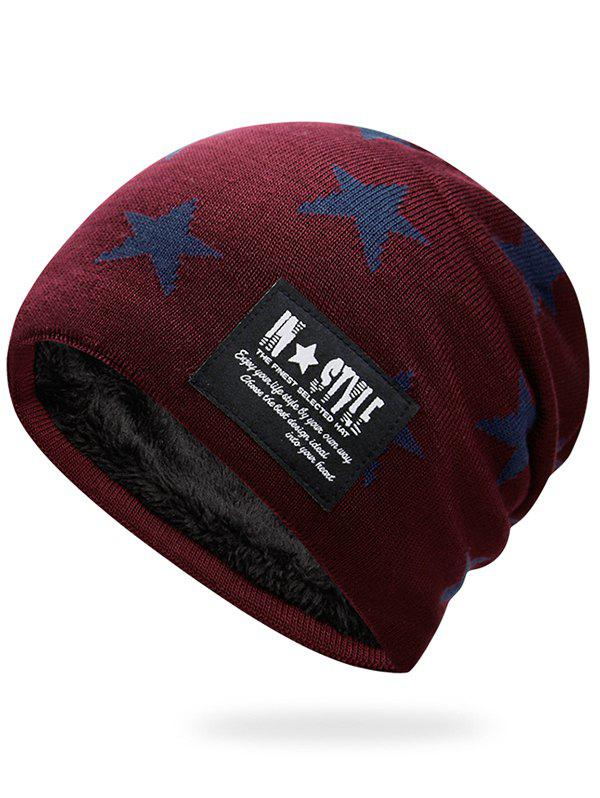 Sale Outdoor Star Pattern Decorated Thicken Knitted Beanie