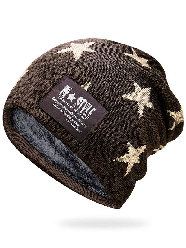 New Outdoor Star Pattern Decorated Thicken Knitted Beanie