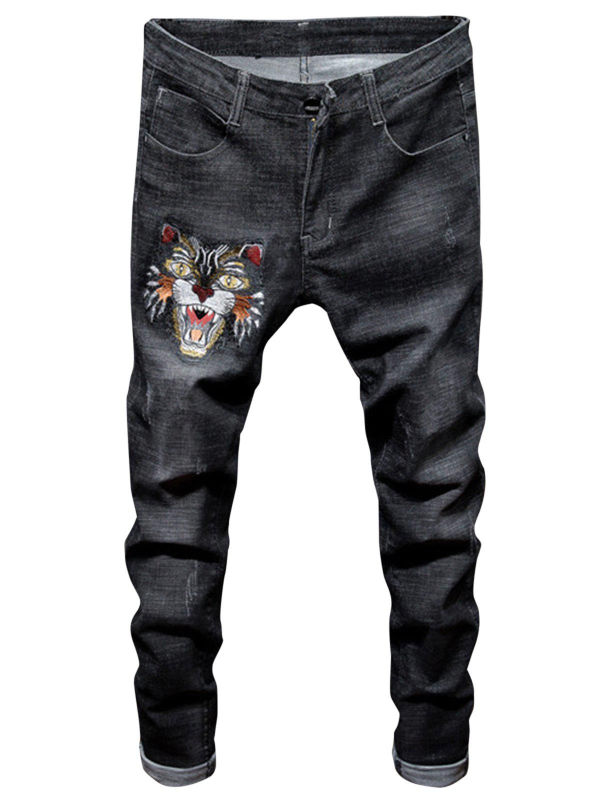 Unique Tiger Embroidered Ripped Jeans