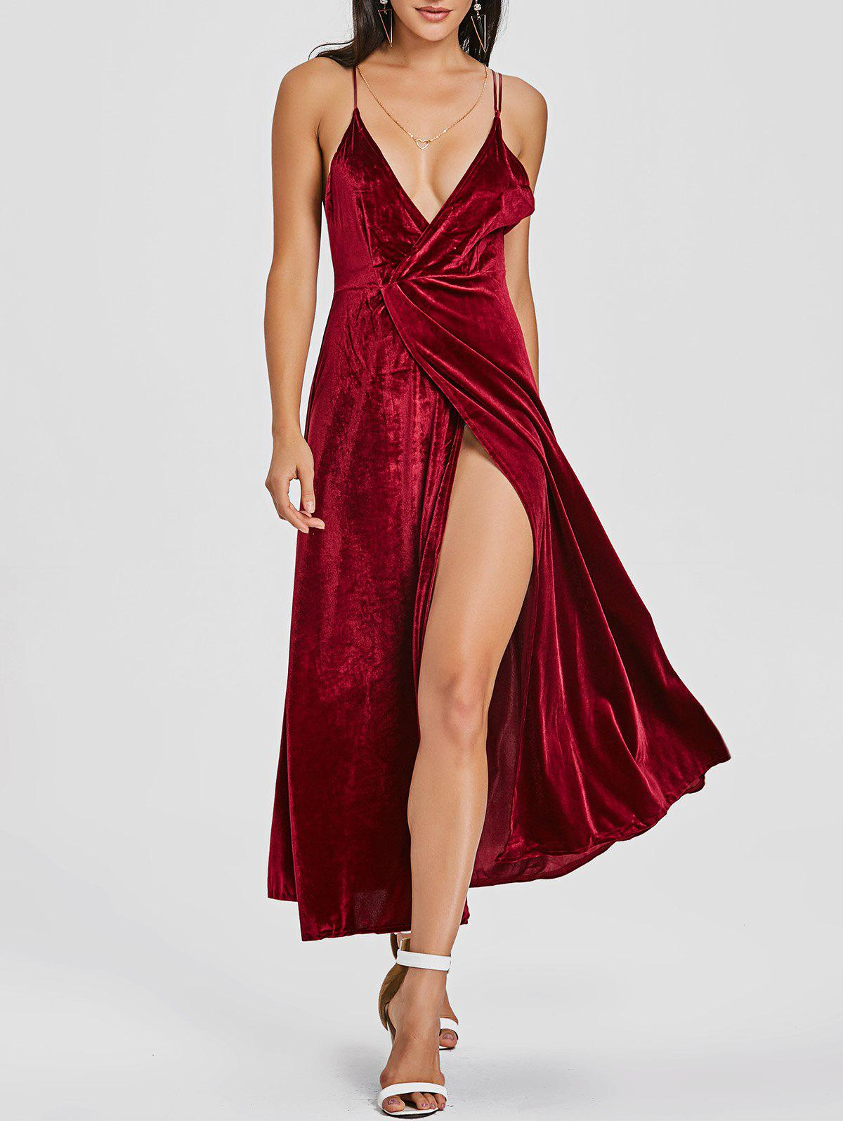 Buy High Slit Velvet Backless Maxi Dress