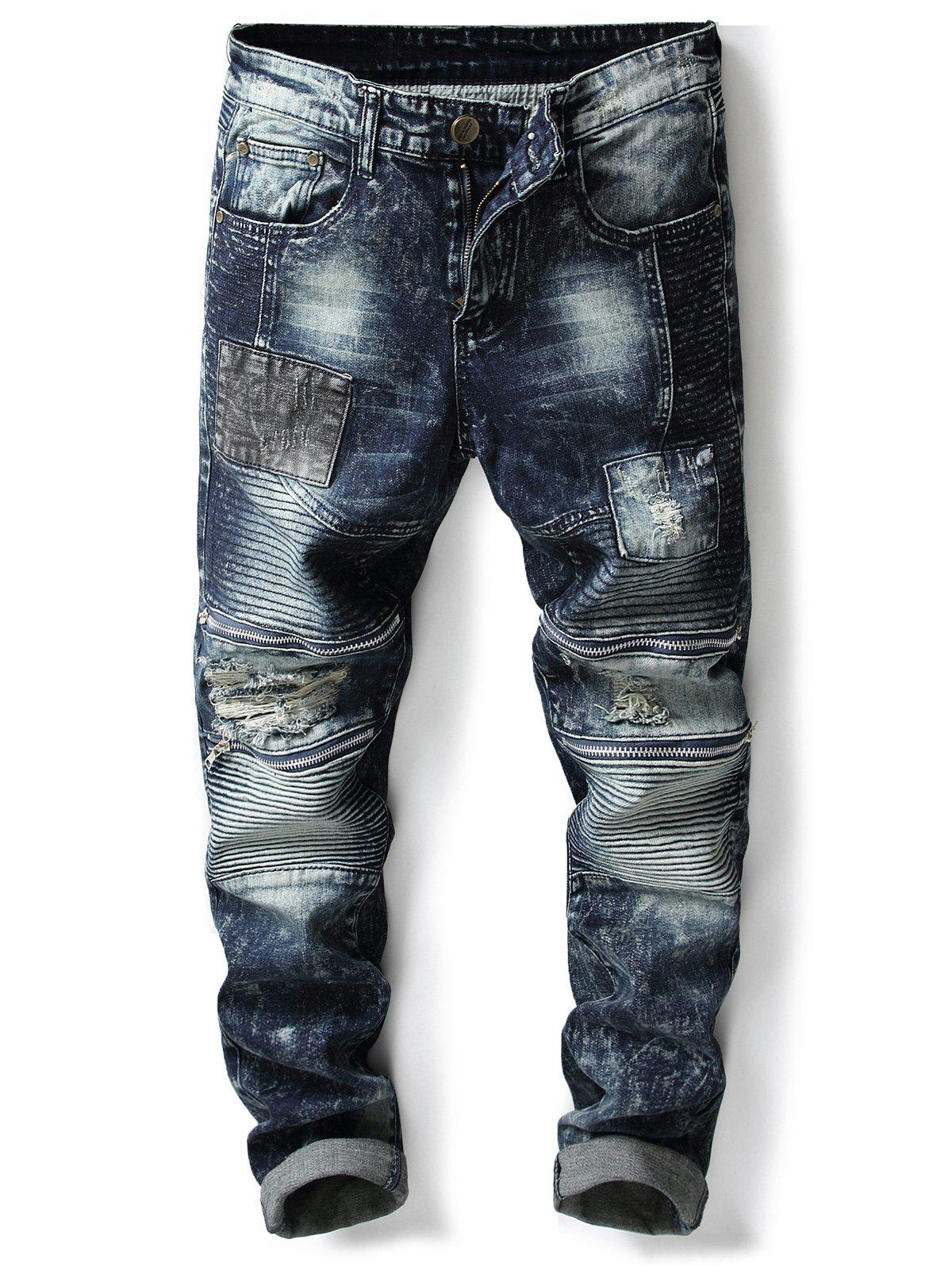 Best Accordion Pleat Zippers Patch Ripped Jeans