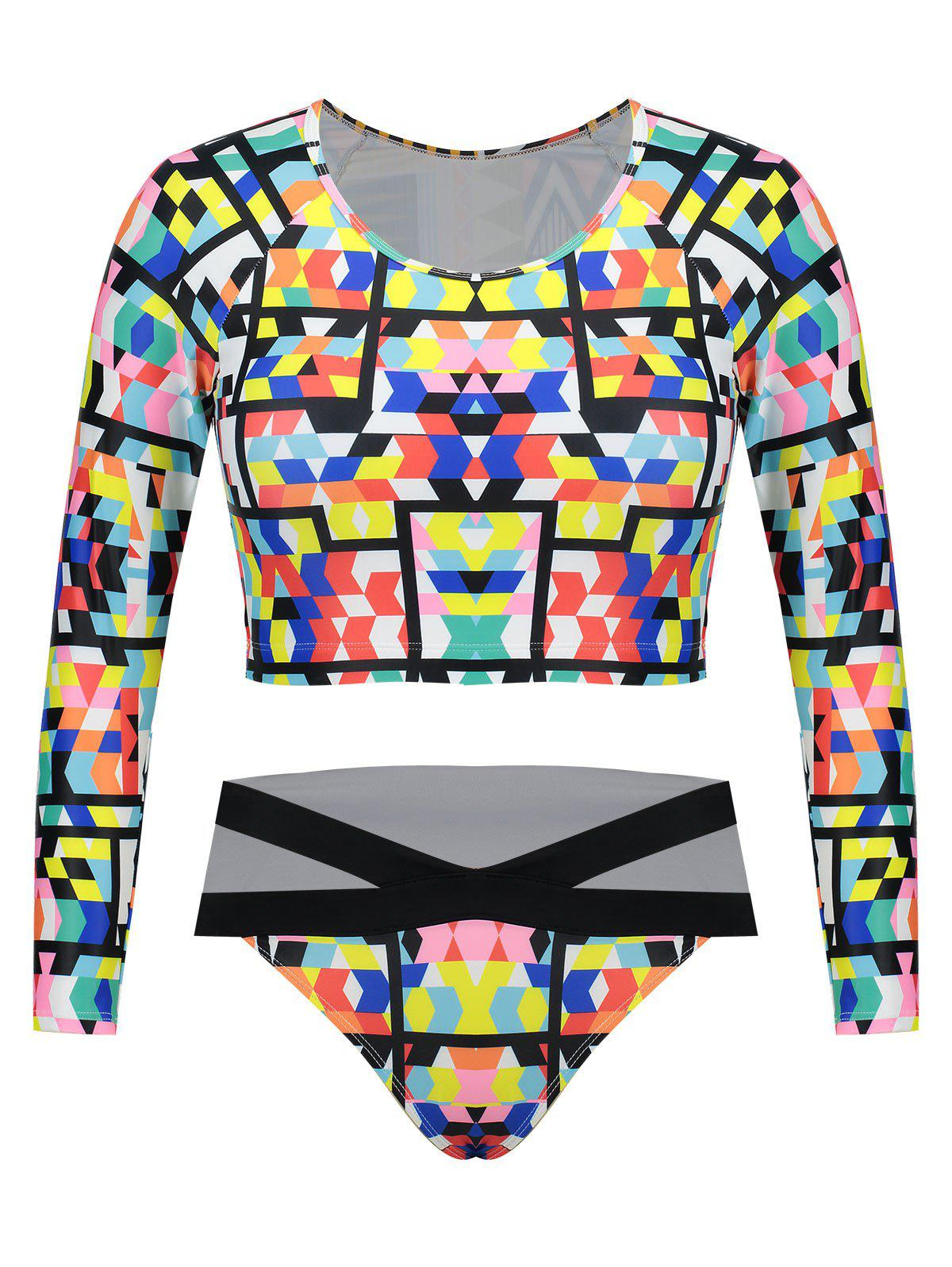 Trendy Plus Size Long Sleeves Printed Swimsuit
