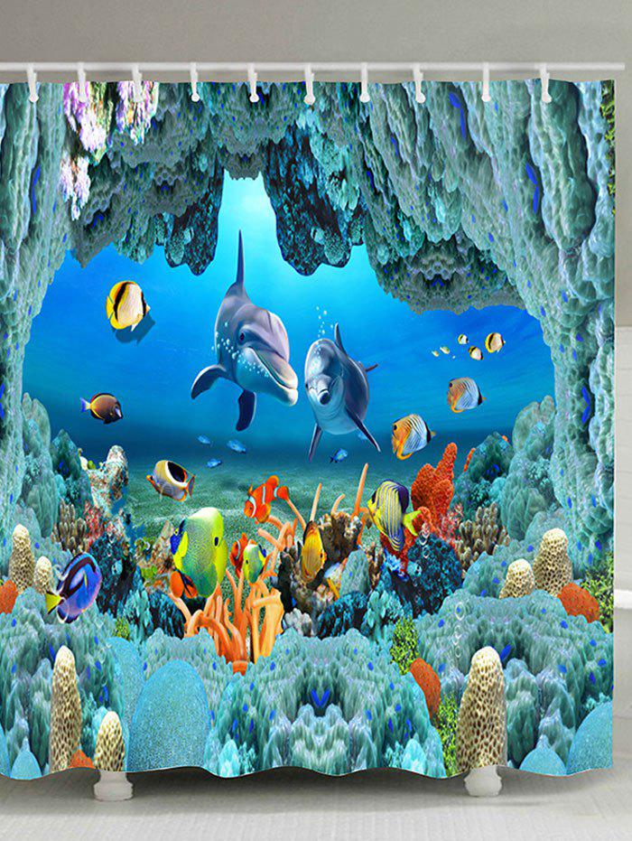 Cheap Underwater World Print Waterproof Polyester Bath Curtain