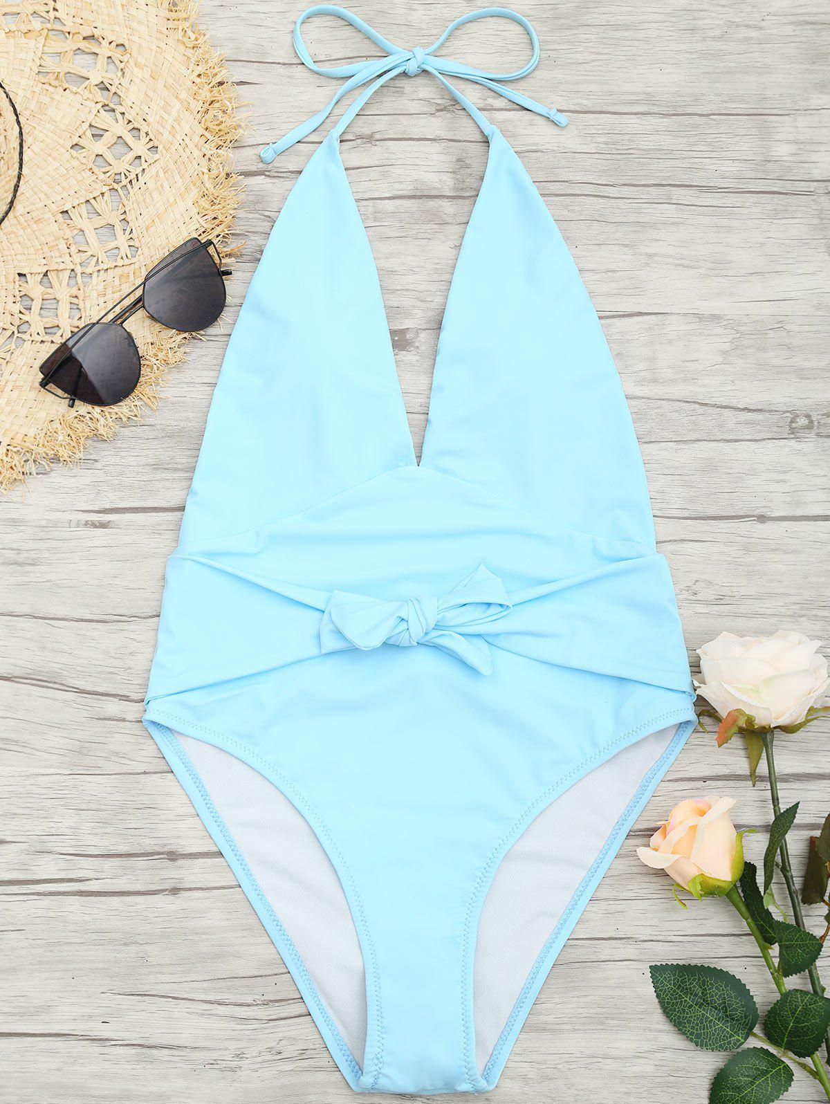 Best Low Back Plunge Front Tied Swimsuit