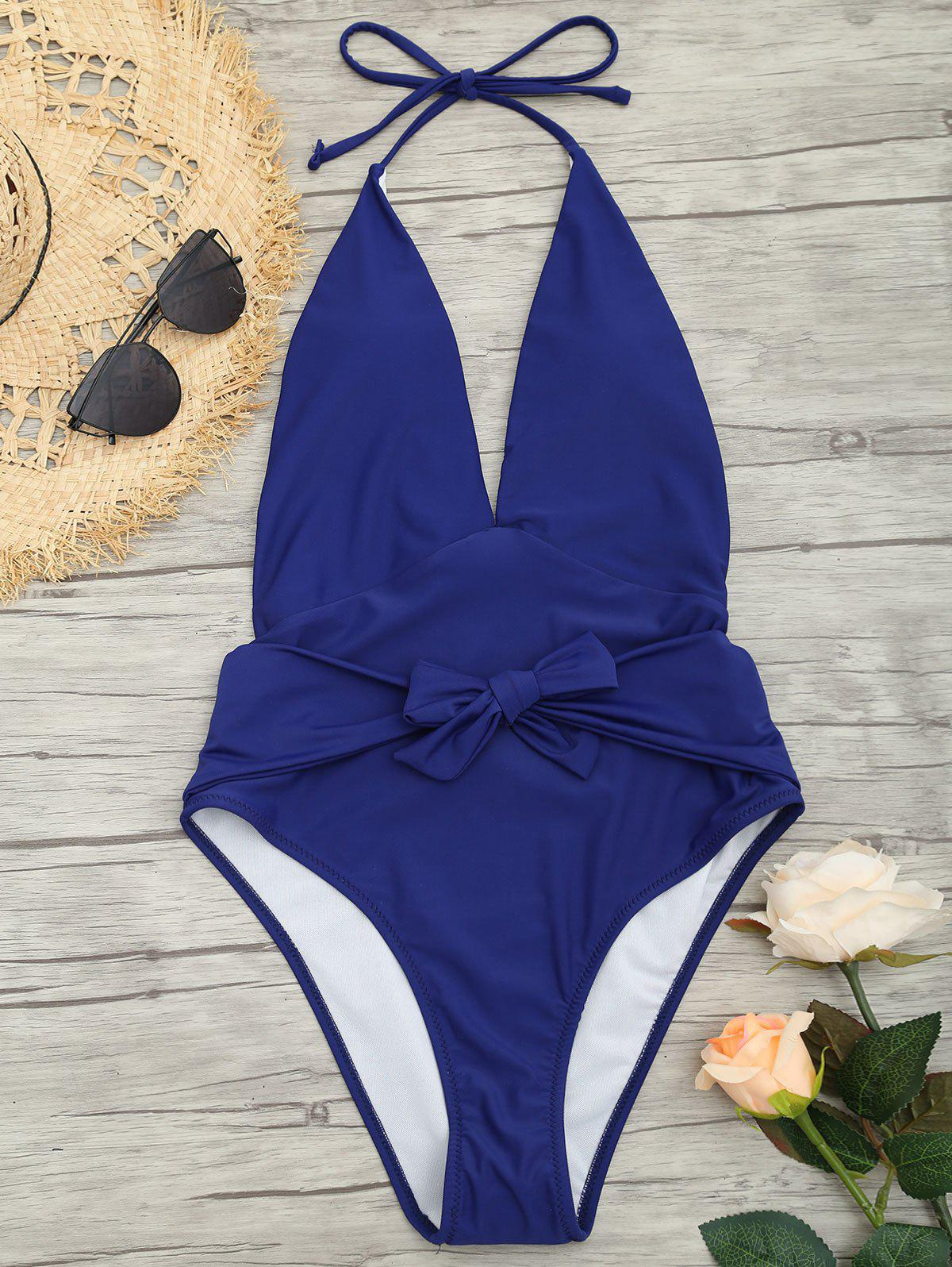 Online Low Back Plunge Front Tied Swimsuit
