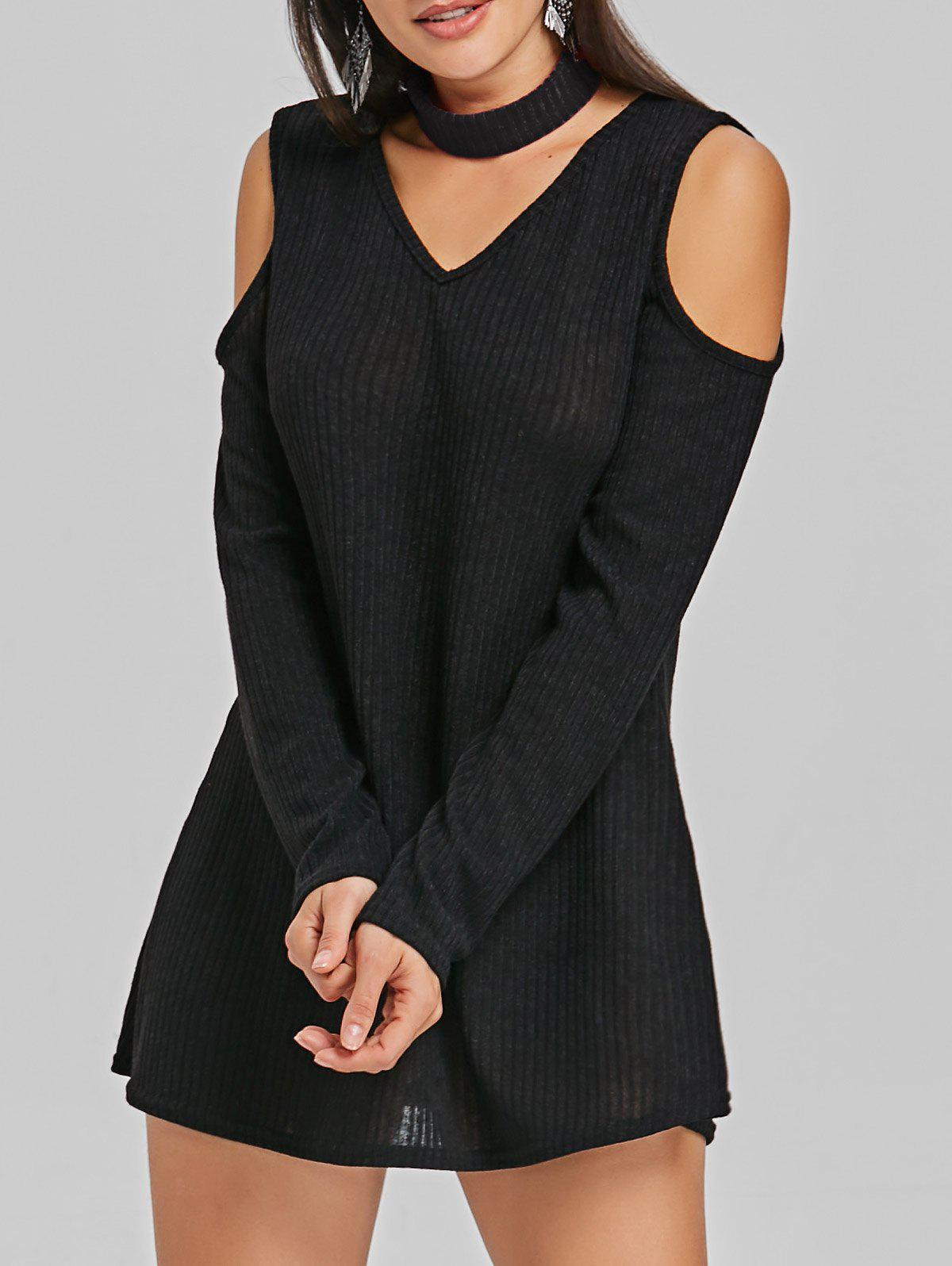 Trendy Cold Shoulder Bodycon Mini Sweater Dress