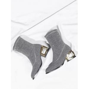 Metallic Heel Sequined Cloth Mid-Calf Boots -