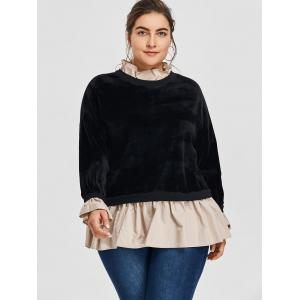 Plus Size Velvet Flocking Drop Waist Sweatshirt -