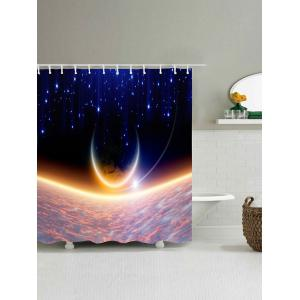 Shiny Moon Print Waterproof Polyester Bath Curtain -