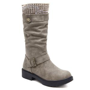 Buckle Strap Stitching Low Heel Mid Calf Boots -