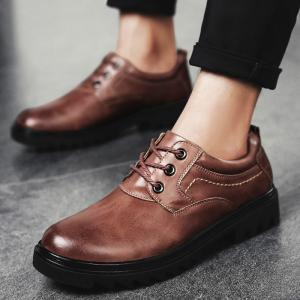 Low Heel Lace Up Stitching Casual Shoes -
