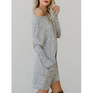 Round Neck Long Sleeve Sweater Dress -
