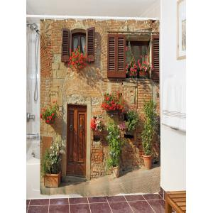 Retro Brick House Print Waterproof Bathroom Shower Curtain -