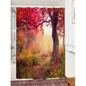 Maple Forest Path Print Waterproof Bathroom Shower Curtain -