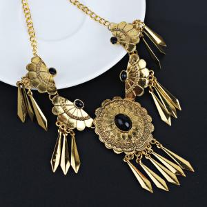 Boho Style Artificial Gem Decorated Fringed Necklace Earrings Set -