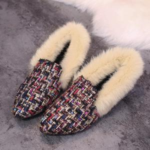 Faux  Fur Collar Color Block Flat Shoes -