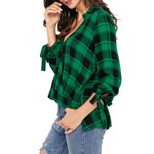 V Neck Checked High Low Shirt -