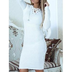 Lace Up Ribbed Sweater Dress -