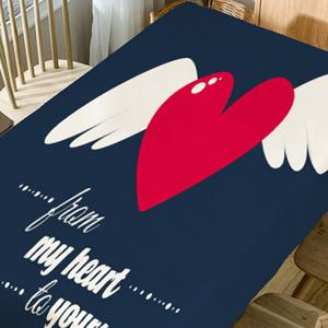 From My Heart to Yours Print Waterproof Table Cloth -