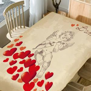 Love Heart and Cupid Print Waterproof Table Cloth -