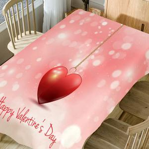 Heart Necklace and Letters Print Waterproof Table Cloth -