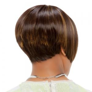 Short Neat Bang Colormix Straight Bob Synthetic Wig -