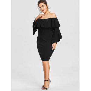 Flounce Off Shoulder Plus Size Formal Dress -