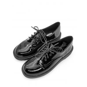 Patent Leather Lace Up Casual Shoes -