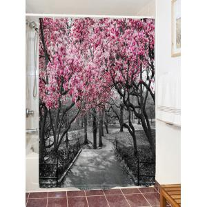 Flower Trees Path Print Waterproof Bathroom Shower Curtain -