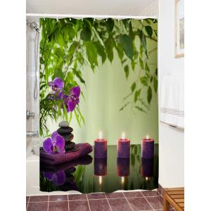 Flower Candles Print Waterproof Bathroom Shower Curtain -