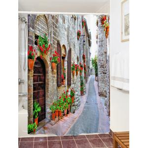 Brick House Alley Print Waterproof Bathroom Shower Curtain -