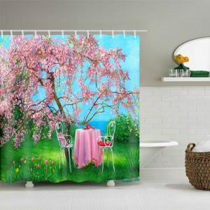 Flower Tree Table Print Waterproof Bathroom Shower Curtain -