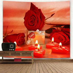 Valentine's Day Gift Roses Heart Candles Print Wall Tapestry -