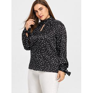 Plus Size Keyhole Star Print Blouse -