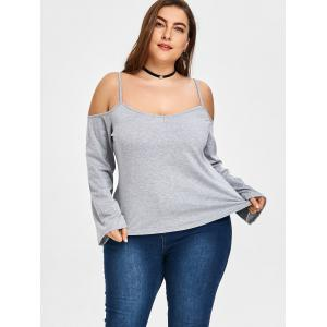 Plus Size Open Shoulder Spaghetti Strap Blouse -