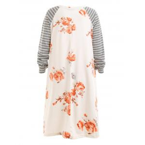 Plus Size Striped Floral Raglan Sleeve Dress -
