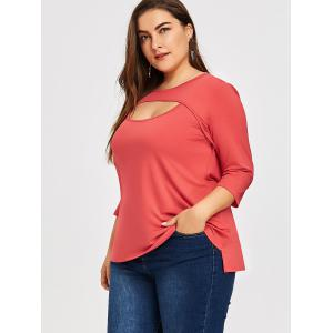 Plus Size Keyhole Cutout T-shirt -